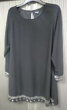 Yours Limited Collection - Black Chiffon Top with Sparkle & Beads - Size 20