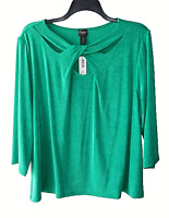Chico's Travelers Size 4 (2XL) Green Cross Twist Front Top