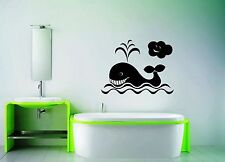Wall Stickers Vinyl Decal Whale For Bathroom For Kids Animal Ocean Marine ig1547