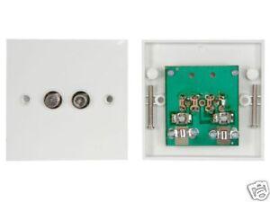 Wall Plate F-Type Twin Outlet Dual Socket Freesat Sky+