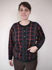 Vintage JAEGER Plaid 100% Lambs WOOL Womens Sweater CARDIGAN UK Made 38