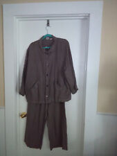 Women CP Shades Irish Linen M Jacket Pants Set Tan Beige Button Down Front Loose