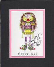 GIRL VOODOO DOLL PRINT, Jamie Hayes, NEW ORLEANS, SIGNED & MATTED GICLEE 8X10