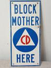 ORIGINAL COLD WAR BLOCK MOTHER CIVIL DEFENSE METAL SIGN