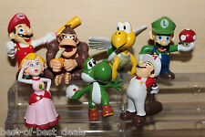 Super Mario Cake Toppers Set of 7pcs PVC Figures 2''- 2.5'' Inches Tall