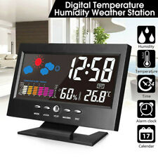 Digital Thermometer Humidity Clock Temperature LED Alarm Calendar Weather USA