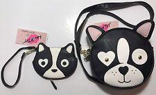 Luv Betsey By Betsey Johnson Dog Pug Crossbody & Coin ID Wristlet Purse Bag NWT