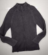 Aigle Mens Sweater Sz XXL 2XL Ribbed Full Zip 100% Cotton Jacket Gray