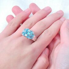 Silver Ring with 6.40ct Cyan Blue & White Sapphire Gemstones in 10kt Gold Filled