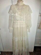 ANTIQUE IVORY EDWARDIAN TEA DRESS GOWN High Collar LACE WEDDING LS 0/2 3/4 5/6