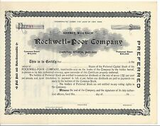 Rockwell=Poor Company.Unissued Stock Certificate