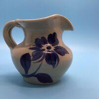 Williamsburg Salt Glaze Pottery Min.Pitcher With Cobalt Blue Flower WPF 1999
