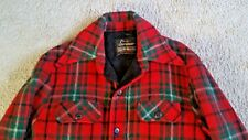 Vtg Sears Sportswear Red & Green Buffalo Mackinaw Wool Plaid Coat Jacket Sz 40