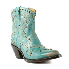 Lucchese M5029 Womens Turquoise Blue Distressed Leather Cowboy Western Boots 7 B