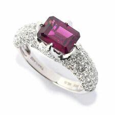 Meher Jewelry Emerald Cut Rhodolite & White Zircon Gemstone Pave Ring Sz 8 & 9