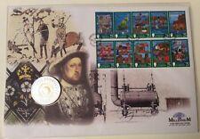 Bailía de Guernesey 1999 Milenio £ 5 moneda y 10 Milenio sello conjunto FDC