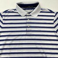 RLX Ralph Lauren Polo Shirt Men's Large Short Sleeve White Blue Striped Casual