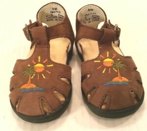 Stride-Rite MUNCHKIN Brown Leather T-Strap Sandals Shoes Boys Baby Infant 3 Mos