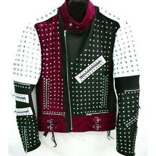Red Unique Design Full Studded Biker Leather Jacket Maroon Black White Color Men