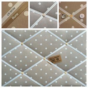 Clarke & Clark Dotty Spot Fabric Taupe Pin/Memo/Notice Board Cork SMl LG XL