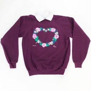Vintage 90s Morning Sun Floral Graphic Art Collar Sweatshirt Size M /  L USA