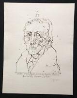 Horst Janssen, Christoph August Vulpius, Lithographie, 1967, handsigniert