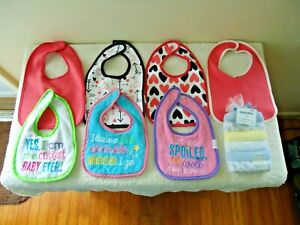 """Mixed Lot Of """" NWT """" & Gently Used Baby Items Bibs & Washcloths """" GREAT GIFT SET"""