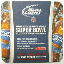 BUD LIGHT BEER SUPER BOWL XLVI FLYAWAY SWEEPSTAKES  Coaster, MAT, 2011, 46TH NFL