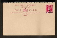 Gibraltar Reply Postal Card - H&G #10 Mint VF - 1889 10 Centimos Queen Victoria