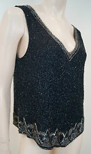 Ralph Lauren Black Silver Silk Beaded Sequin V Neck Sleeveless Evening Top sz6