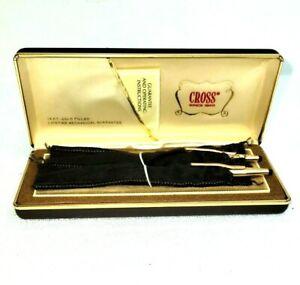 Cross 14K Gold Filled Pen & Pencil Blue Ink & .005 Lead In Case