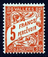 ANDORRA (French) 1941 Postage Due 5 Francs Orange SG FD100 MINT