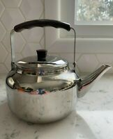 Vintage Stainless Steel 18/10 Teapot Kettle Faux Wood Look Knob Handle Small