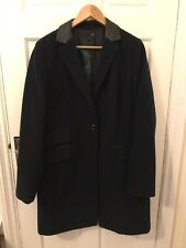 Navy Woollen Next Coat With Black Leather Effect Collar Size 18 Tall