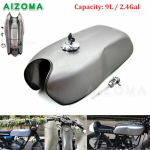 Unpainted Vintage 9L 2.4GAL Fuel Gas Tank For Yamaha Honda Cafe Racer Motorcycle