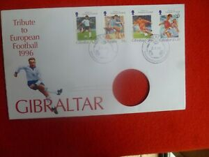 1996 1 TRIBUTE TO EUROPEAN FOOTBALL FIRST DAY COVER SET OF 4 STAMPS  HOLE
