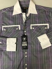 Stacy Adams Men Shirt Long Sleeve Purple Plaid Cotton Blend Medium M New