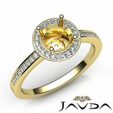 18k Yellow Gold 1Ct Halo Pave Diamond Engagement Round Semi Mount Proposed Ring