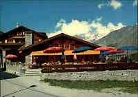 Saas-Fee Wallis Schweiz Hotel Burgener Restaurant Ski-Hütte Postkarte ~1970