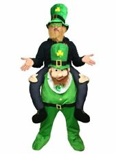 Adult Ride On Leprechaun Costume Mens Irish St Patrick Fancy Dress Piggy Back