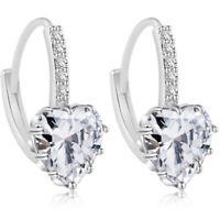 Women Fashion Party Gold Silver Heart Crystal Rhinestone Ear Stud Earrings Gifts