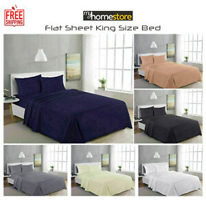 Egyptian Cotton Flat Sheet 300TC Thread Count Bed Sheets King Size 250 x 280 cm