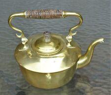 Vintage Brass Tea Pot w/ Wooden Handle Lid Knob - Marked L S M 164-50-7292