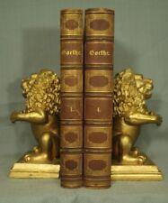 lot 2 old antique Brown Leather books Goethe German decorators shelf gold decor