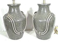 PAIR MID CENTURY MODERN CERAMIC OLIVE JAR LAMPS WITH ROPE TASSEL HANDLES