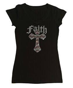Women's Rhinestone T-Shirt Pink and Crystal Faith Cross in Size - Sm to 3X
