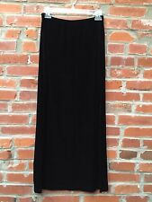 Vintage 90s Black Velvet Maxi Skirt Medium Womens Leg Slit (662)