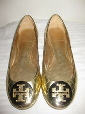 Tory Burch QUINN Quilted Patent Leather Ballet Flat Gold Logo Women's Shoes 7 M.