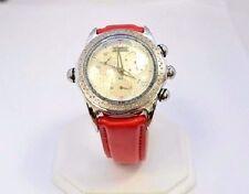 W564-JOJO WATCH APPROX 2.00CT DIAMOND CASE CHRONO J4-00977 RED BAND & EXTRA