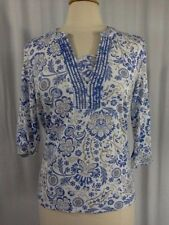 SIZE S - $30.00 HASTING & SMITH Blue, White & Tan Floral 3/4 Soft Top Shirt